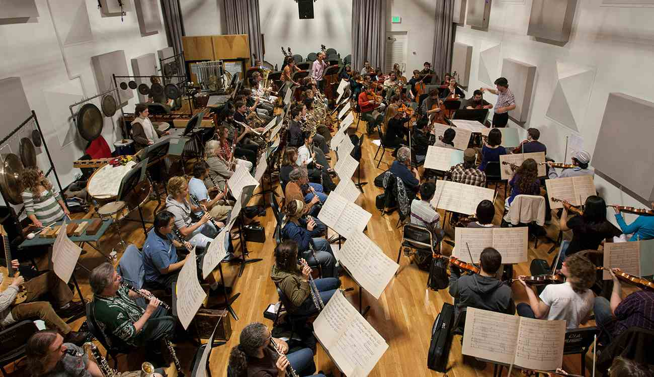 CalArts School of Music rehearsal of Les Espaces Acoustiques featuring the CalArts New Century Players and the CalArts Orchestra conducted by Mark Menzies