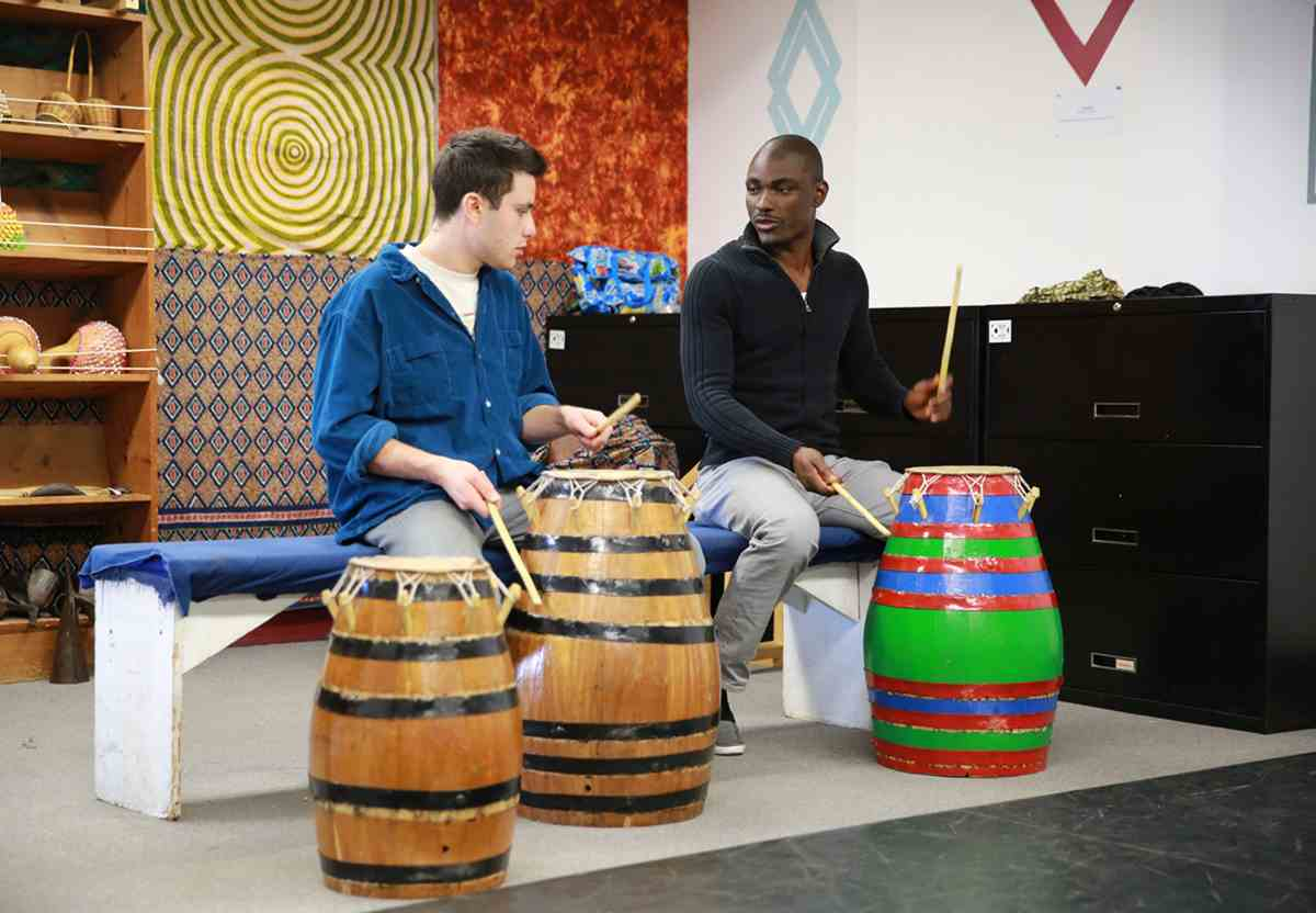 Percussion class with Nani Agbeli (right), Director of West African Music, Dance and Arts